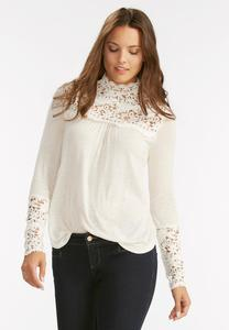 Crochet Inset Mock Neck Top