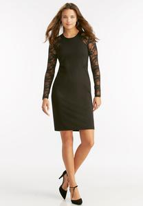 Lace Inset Cutout Sheath Dress-Plus