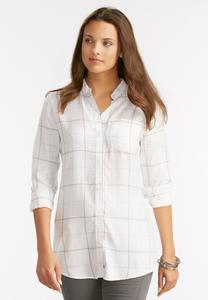 Windowpane High-Low Shirt-Plus