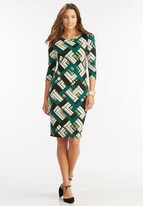 Graphic Block Print Midi Dress-Plus
