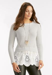 Lace Bordered Sweater-Plus