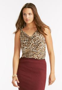 Leopard Print Draped Neck Tank
