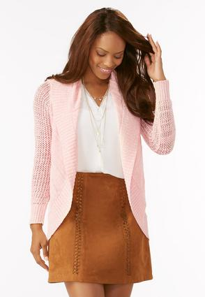 Marled Pointelle Cocoon Cardigan