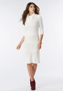 Mixed Knit Cowl Neck Midi Sweater Dress-Plus