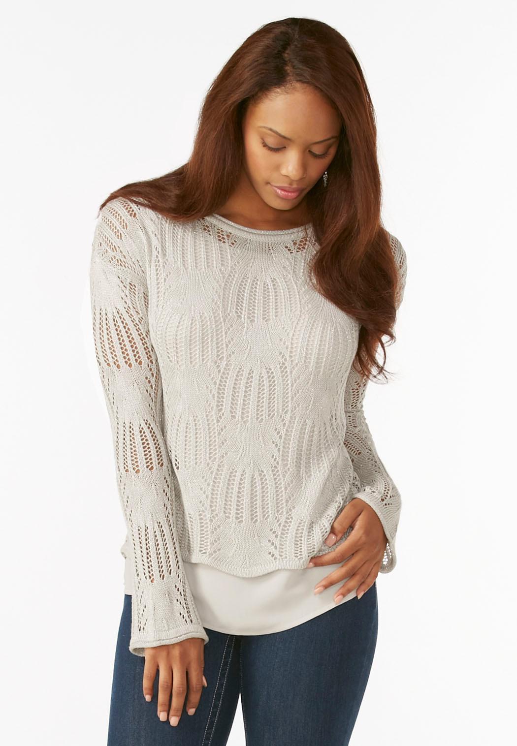 Mock Layered Metallic Sweater Pullovers