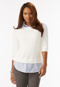 Crew Neck Layered Sweater-Plus