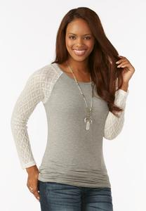 Pointelle Raglan Sleeve Top
