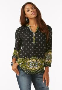 Smocked Neck Border Print Popover Top