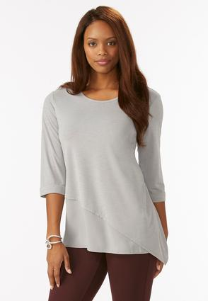 Chiffon Inset Asymmetrical Top