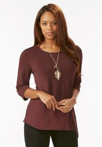 Chiffon Inset Asymmetrical Top-Plus