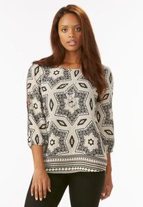 Kaleidoscope Slit Sleeve Top-Plus