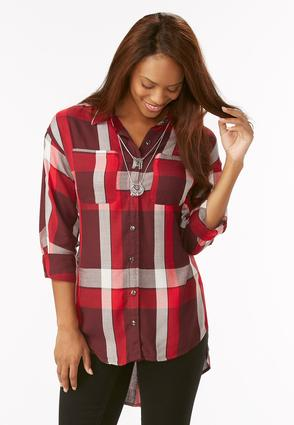 Exaggerate High- Low Plaid Shirt- Plus