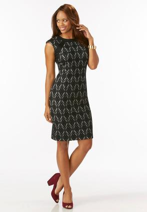 Damask Textured Midi Dress