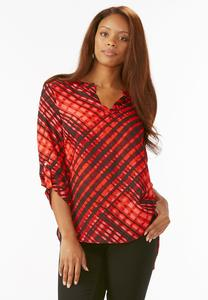 Streaky Striped High-Low Popover Top-Plus