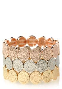 Tri-Color Textured Metal Stretch Bracelet Set