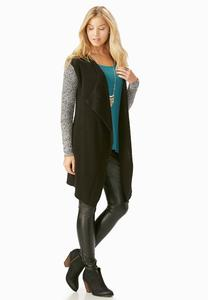 Marled Sleeve Waterfall Cardigan