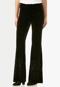 Burnout Velvet Flare Pants