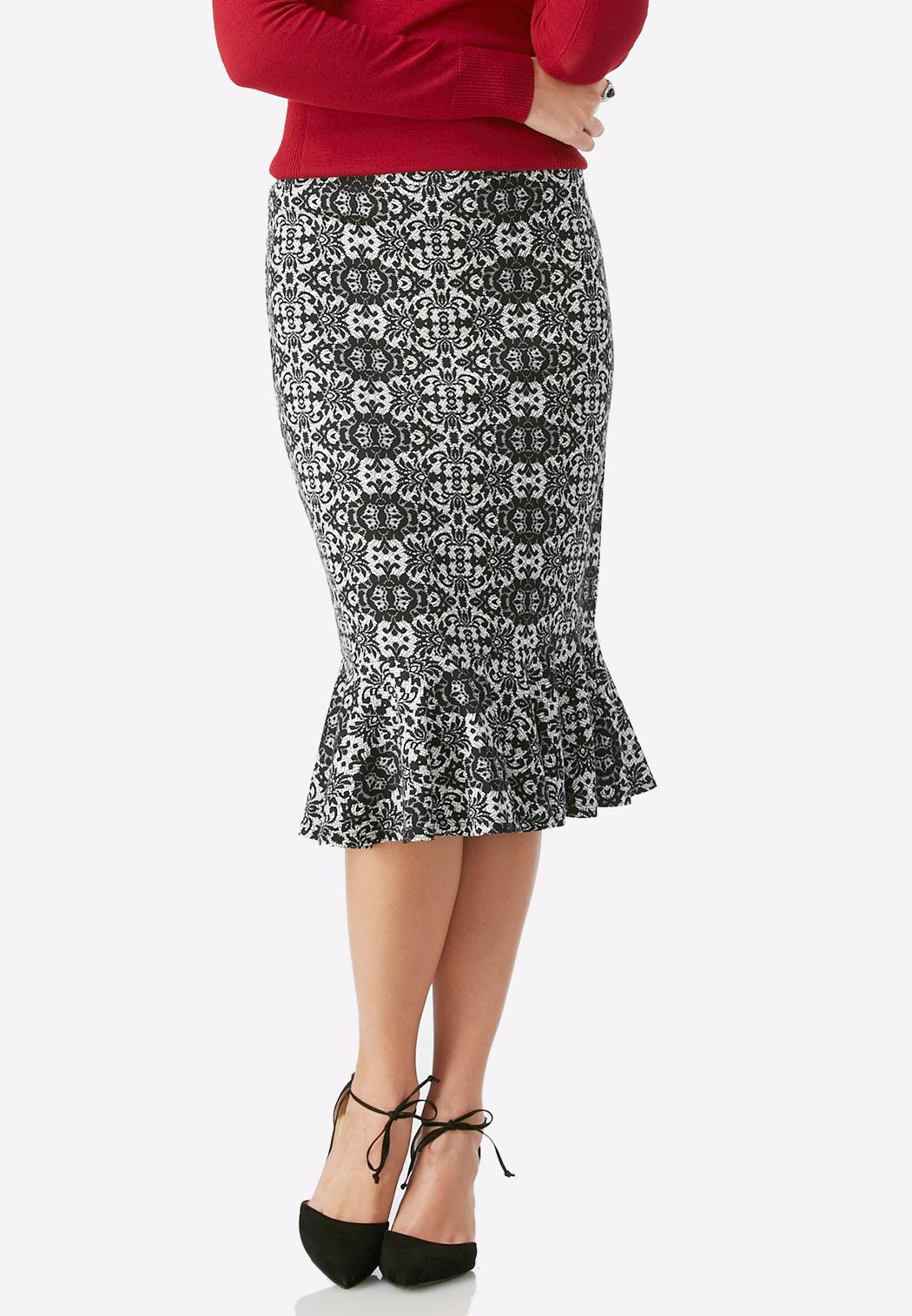 scroll print flounced skirt below the knee cato fashions