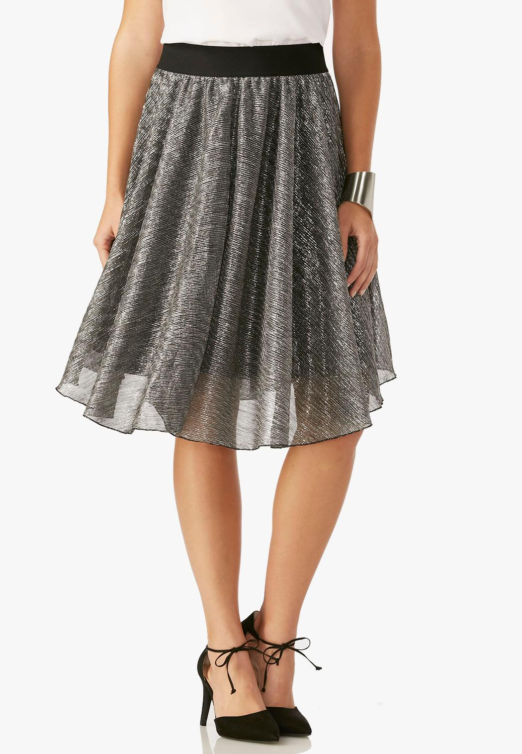metallic stretch pleat a line skirt below the knee cato