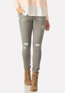 Distressed Gray Wash Jeans