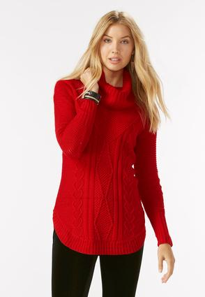 Cabled Shirttail Sweater
