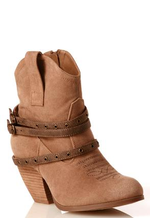 Grommet Strap Western Ankle Boots