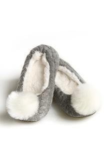 Fur Pom Pom Cable Knit Slippers