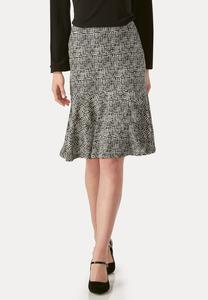Graphic Grid Flounced Skirt-Plus