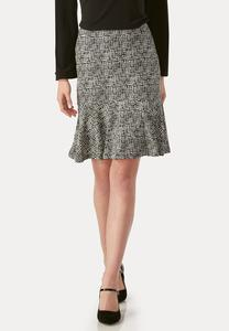 Graphic Grid Flounced Skirt