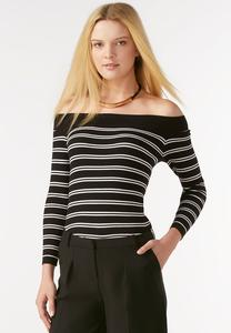 Striped Off the Shoulder Sweater