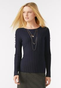 Lace Up Sleeve Ribbed Sweater-Plus