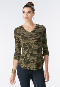 Studded Camouflage Top-Plus