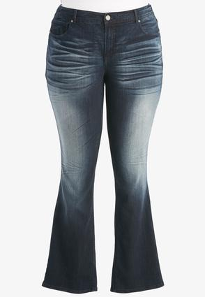 Whiskered Dark Wash Bootcut Jeans- Plus Petite