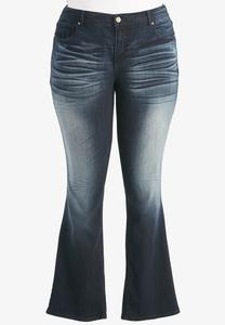 Whiskered Dark Wash Bootcut Jeans-Plus Petite