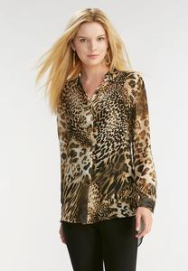 Mixed Animal Print High-Low Shirt-Plus