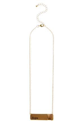 Wire Wrapped Hope Bar Pendant Necklace