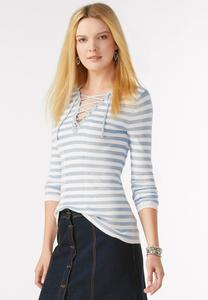 Ribbed Striped Lace Up Pullover-Plus