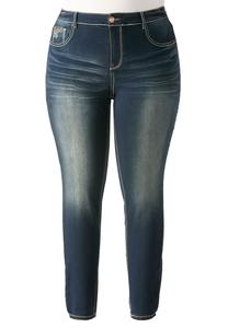 Embellished Pocket Super Skinny Jeans- Plus