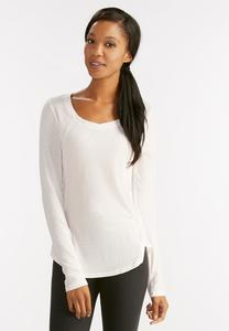 Space Dyed Seamed Knit Top-Plus
