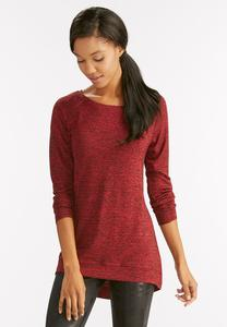 Marled High-Low Tunic-Plus
