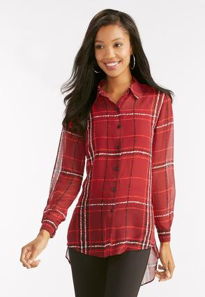 Graphic Plaid Sheer High- Low Shirt
