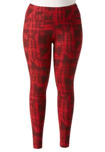 Digital Plaid Performance Leggings-Plus