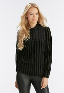 Velvet Striped Button Down Shirt-Plus
