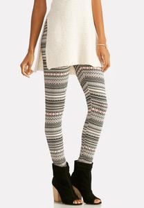 Abstract Striped Leggings