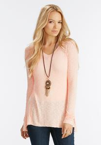 Ribbed High- Low Swing Top- Plus