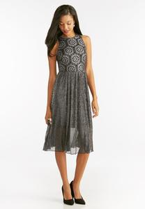 Metallic Lace Stretch Pleat Midi Dress
