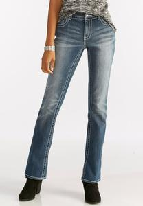 Embellished Rip Pocket Bootcut Jeans-Petite