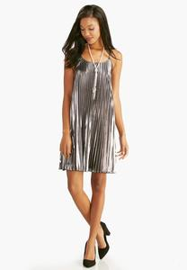 Pleated Metallic Trapeze Dress-Plus