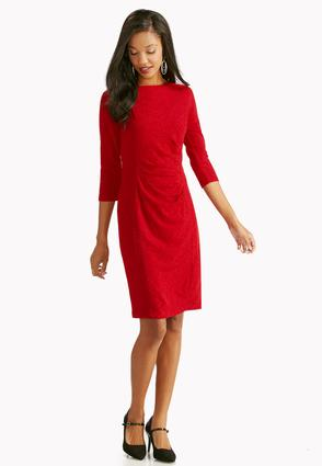 Ruched Side Ribbed Sheath Dress- Plus