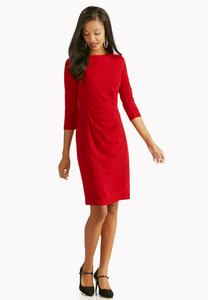 Ruched Side Ribbed Sheath Dress-Plus